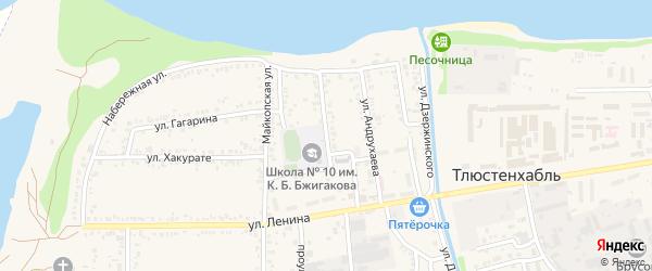 Школьная улица на карте поселка Тлюстенхабля Адыгеи с номерами домов