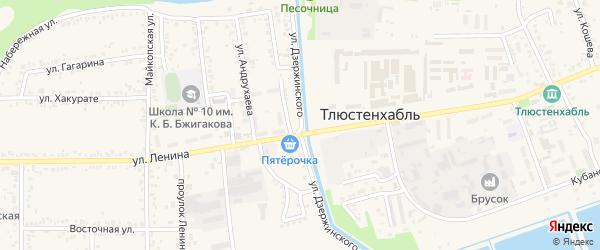 Улица Дзержинского на карте поселка Тлюстенхабля Адыгеи с номерами домов