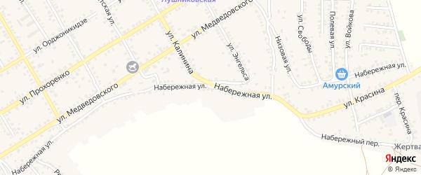 Набережная улица на карте Острогожска с номерами домов