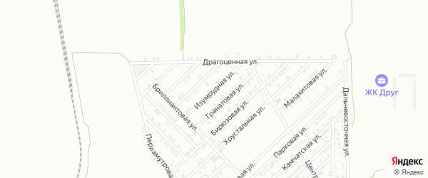 Изумрудная улица на карте территории Новознаменского с номерами домов