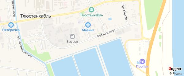 Кубанская улица на карте поселка Тлюстенхабля Адыгеи с номерами домов