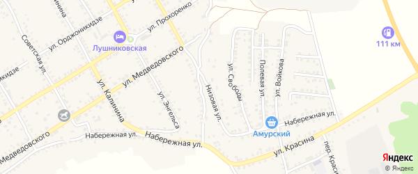 Низовая улица на карте Острогожска с номерами домов