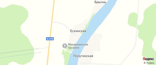 Карта Ескинской деревни в Архангельской области с улицами и номерами домов