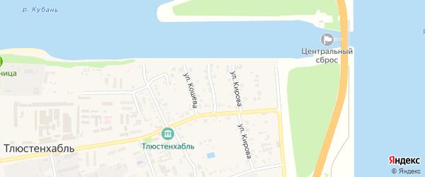 Тлюстенхабльский переулок на карте поселка Тлюстенхабля Адыгеи с номерами домов