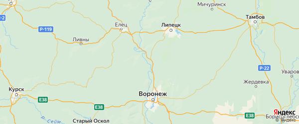 Карта Хлевенского района Липецкой области с городами и населенными пунктами