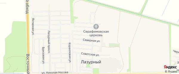 Карта Лазурного поселка города Краснодара в Краснодарском крае с улицами и номерами домов
