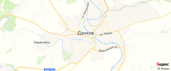 Карта Данкова с районами, улицами и номерами домов