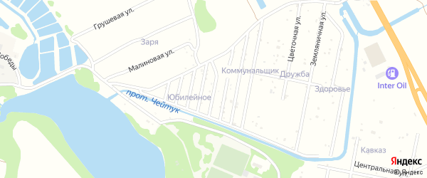 Улица Ветеранов на карте Юбилейного Адыгеи с номерами домов