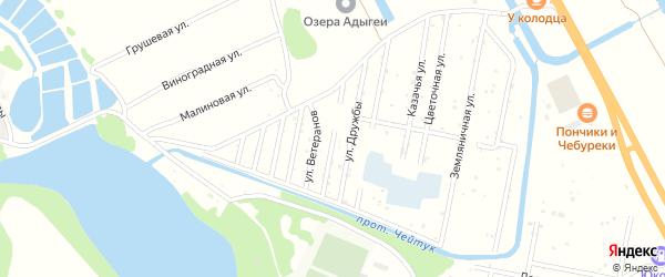 Спортивная улица на карте Дружбы Адыгеи с номерами домов