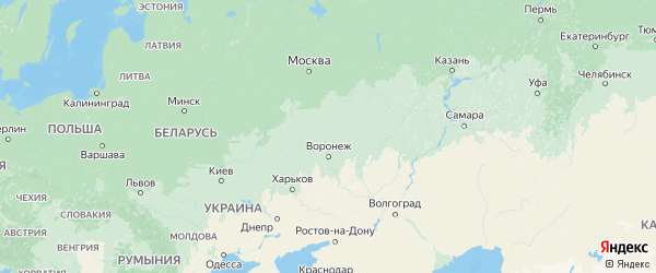 Карта Липецкой области с городами и районами