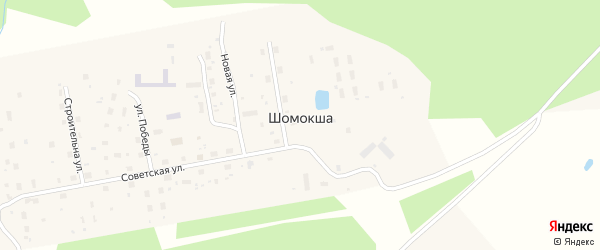 Строительная улица на карте поселка Шомокши с номерами домов
