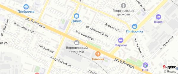 Землянская улица на карте Воронежа с номерами домов