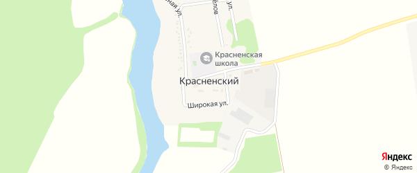 Широкая улица на карте Красненского хутора Адыгеи с номерами домов