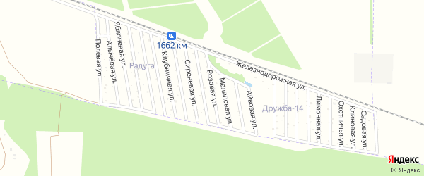 Розовая улица на карте Дружба-14 Адыгеи с номерами домов