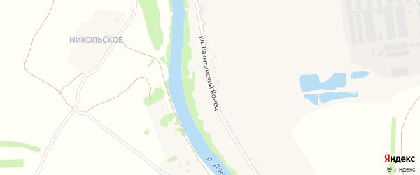 Улица Ракитинский Конец на карте села Ольховец Липецкой области с номерами домов