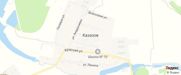 Фермерская улица на карте хутора Казазов Адыгеи с номерами домов