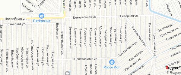 Яблочная улица на карте территории Гидростроителя с номерами домов