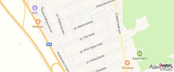 Улица Теучежа на карте Адыгейска с номерами домов