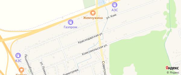Краснодарская улица на карте Адыгейска с номерами домов