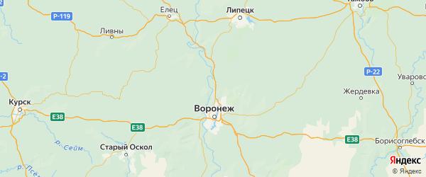 Карта Рамонского района Воронежской области с городами и населенными пунктами