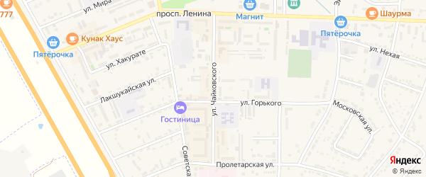 Улица Чайковского на карте Адыгейска с номерами домов