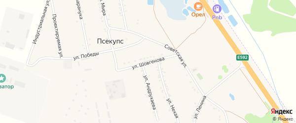Улица Шовгенова на карте хутора Псекупса с номерами домов