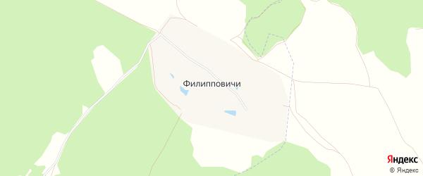 Карта деревни Филиппов города Зарайска в Московской области с улицами и номерами домов