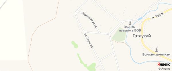 Улица Теучежа на карте аула Гатлукая с номерами домов