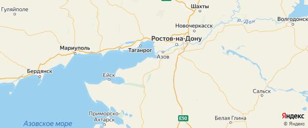 Карта Азовского района Ростовской области с городами и населенными пунктами