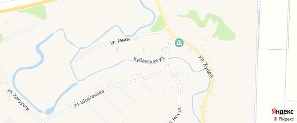 Кубанская улица на карте аула Гатлукая с номерами домов