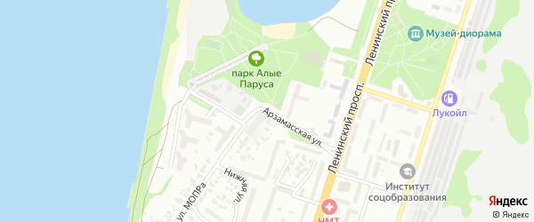 Арзамасская улица на карте Воронежа с номерами домов