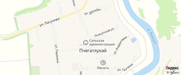 Улица Ленина на карте аула Пчегатлукая Адыгеи с номерами домов