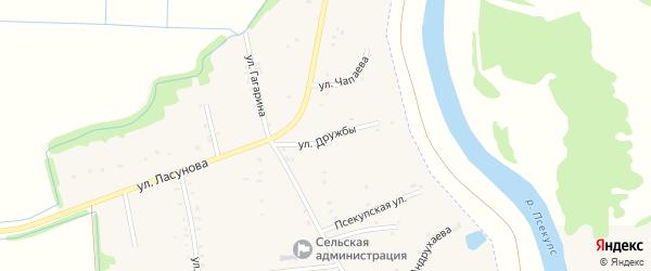 Улица Дружбы на карте аула Пчегатлукая с номерами домов