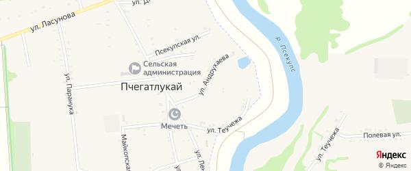 Улица Андрухаева на карте аула Пчегатлукая Адыгеи с номерами домов