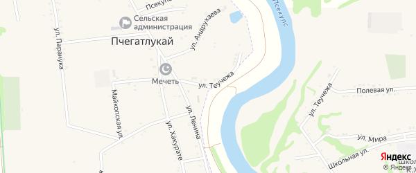 Улица Теучежа на карте аула Пчегатлукая Адыгеи с номерами домов