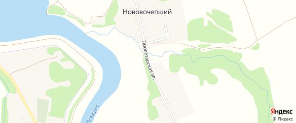Пролетарская улица на карте Нововочепший хутора Адыгеи с номерами домов