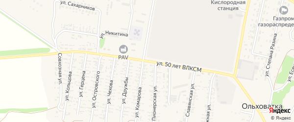 Улица 50 лет ВЛКСМ на карте поселка Ольховатки Воронежской области с номерами домов