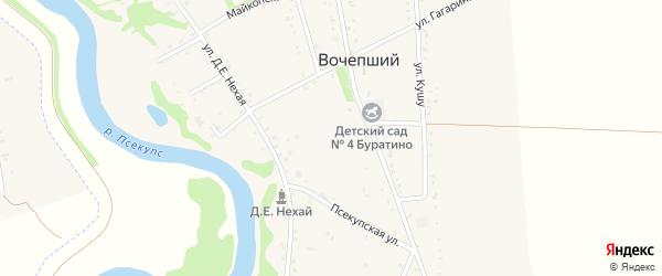 Улица Кима Нехай на карте Вочепший аула Адыгеи с номерами домов