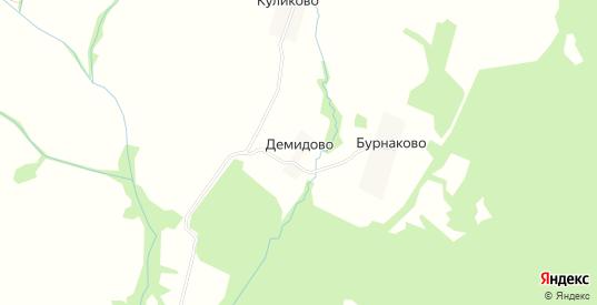 Карта деревни Демидово в Ярославская области с улицами, домами и почтовыми отделениями со спутника онлайн