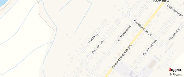 Новая улица на карте села Конево Архангельской области с номерами домов