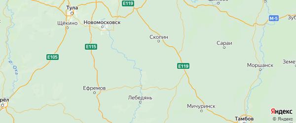 Карта Милославского района Рязанской области с городами и населенными пунктами