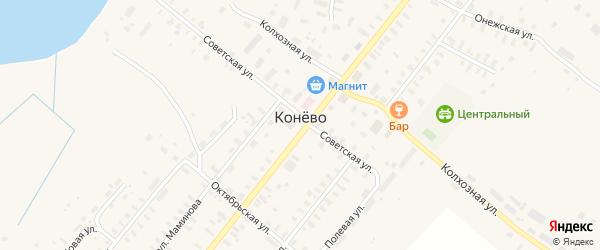 Первомайская улица на карте села Конево Архангельской области с номерами домов