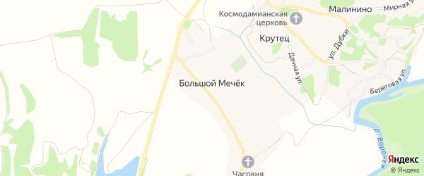 Карта деревни Большого Мечка в Липецкой области с улицами и номерами домов