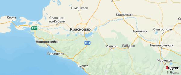 Карта Теучежского района Республики Адыгеи с городами и населенными пунктами
