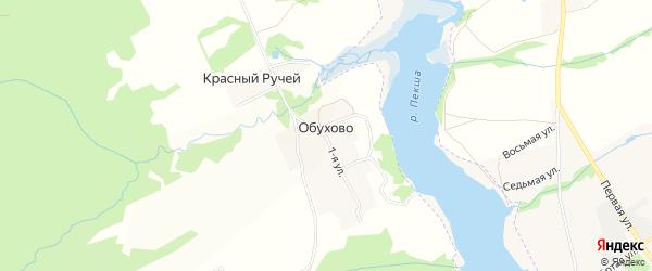 Карта деревни Обухово в Владимирской области с улицами и номерами домов