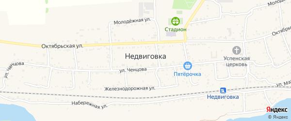 Солнечная улица на карте хутора Недвиговки Ростовской области с номерами домов