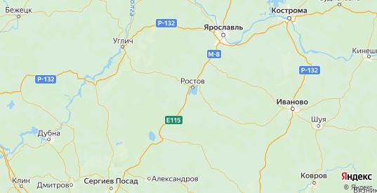 Карта Ростовского района Ярославская области с городами и населенными пунктами