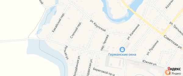 Украинский переулок на карте Платнировская станицы Краснодарского края с номерами домов