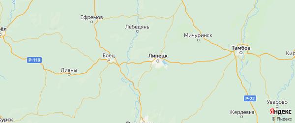 Карта Липецкого района Липецкой области с городами и населенными пунктами