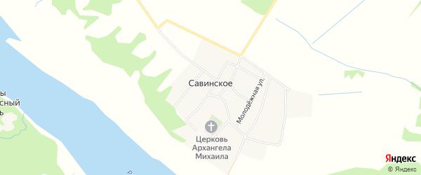 Карта Савинского села в Ярославская области с улицами и номерами домов